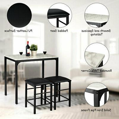 3 Piece Dining Faux Table Kitchen Bar