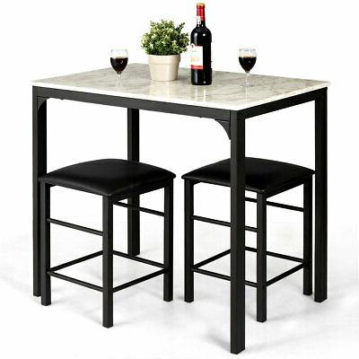 3 piece counter height dining set faux