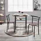 3 Piece Dining Room Table Set 2 Chairs Solid Wood Style Vint