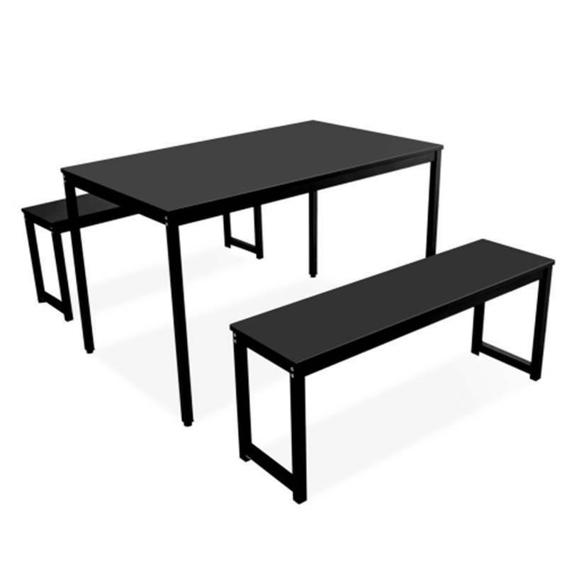 3 Piece Dining Home Kitchen with Benches, Black USA STOCK