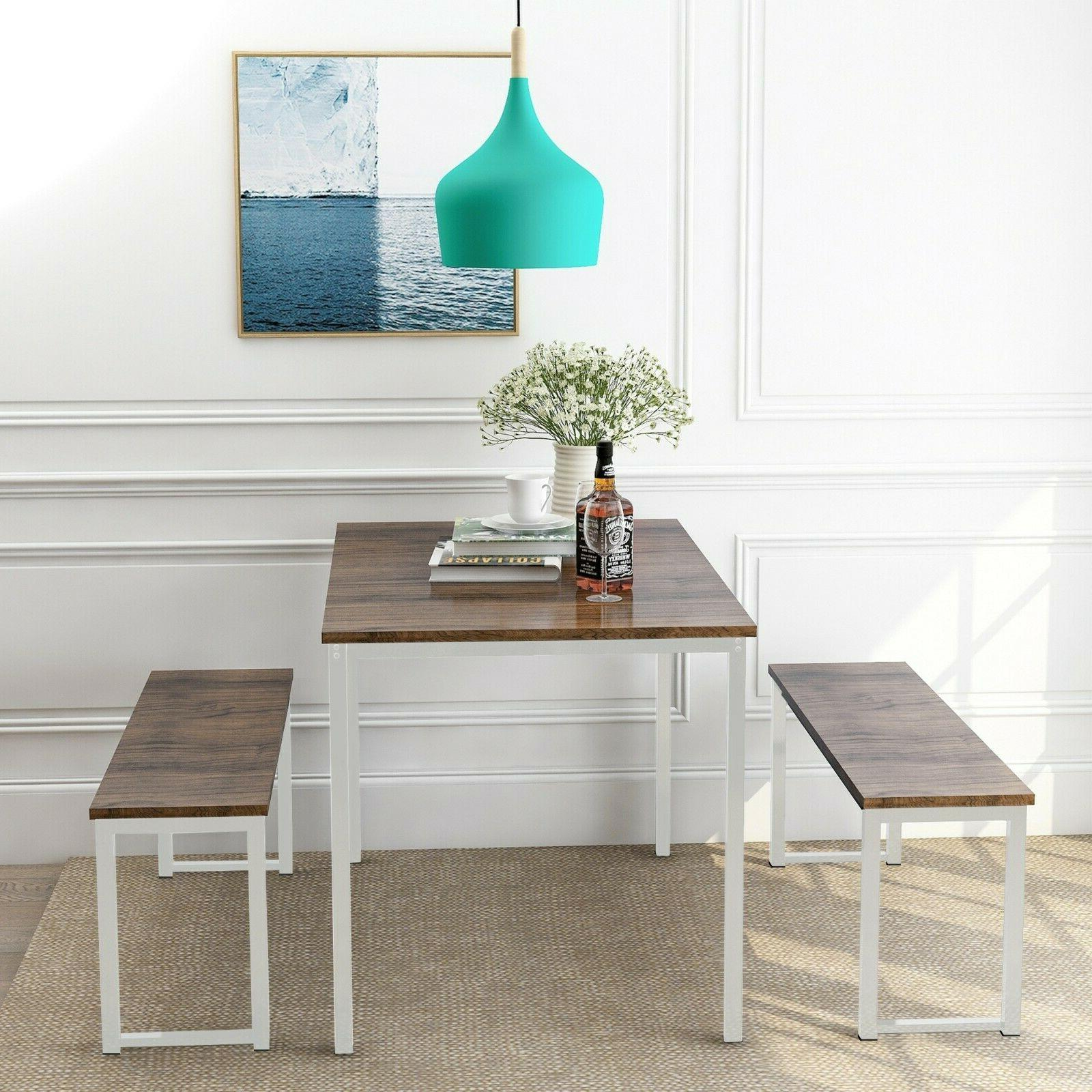 3-Piece Dining Set Kitchen Table 2 Benches Seat Metal Wood C