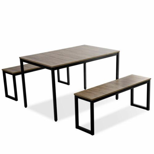 3 Piece Dining Set Wood Rectangle Room Furniture
