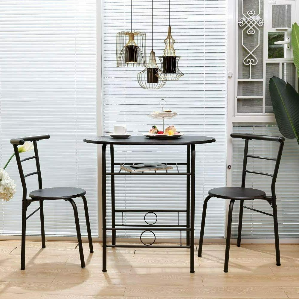 3 Dining Set 2 Chairs Black