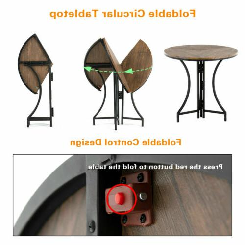 3 Piece Dining Table Set 2 Round Wood Top Desk
