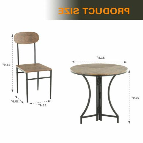 3 Piece Metal Dining 2 Chairs Wood Top
