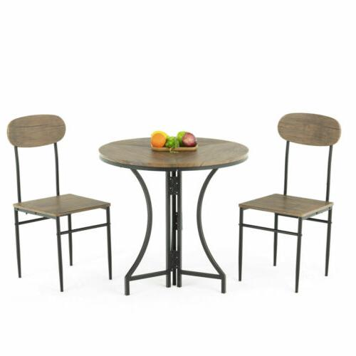 3 Piece Metal Dining Table 2 Chairs Top