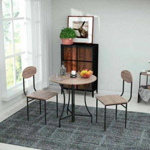 3 Dining Table w/ 2 Chairs Round Wood Top