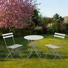 3 Piece Patio Outdoor Steel Folding Bistro-Style Round Table