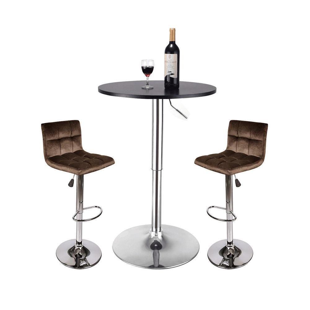 3 Piece Pub Table Set Adjustable Swivel Bar Stool Counter Di
