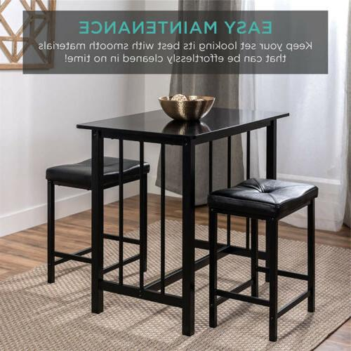 3 Pub Table Set Counter Height Kitchen 2 Stools
