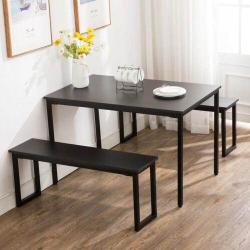 3-Piece Wood Table Set Chair