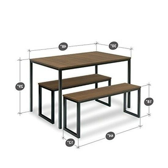 3 piece set Modern Dining with Two Benches