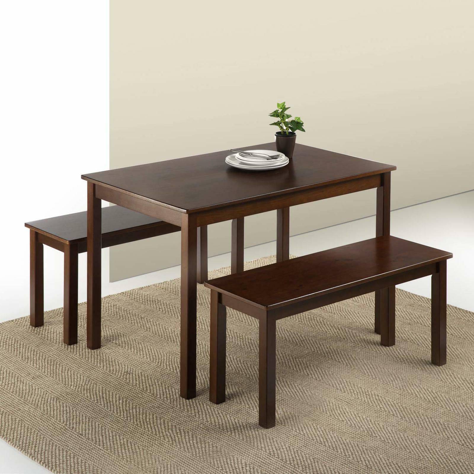 3 Piece Set Wood Dining Table Espresso With 2 Benches Kitche