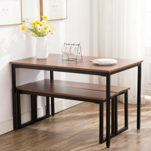 3 Piece Wooden Dining Table Set With Benches