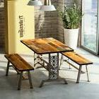3 Pieces Dining Table Set with 2 Benches Metal Base Table Se