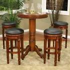 "31"" Round Wood Dining Pub Bar Table Counter Height & 4 Bar S"