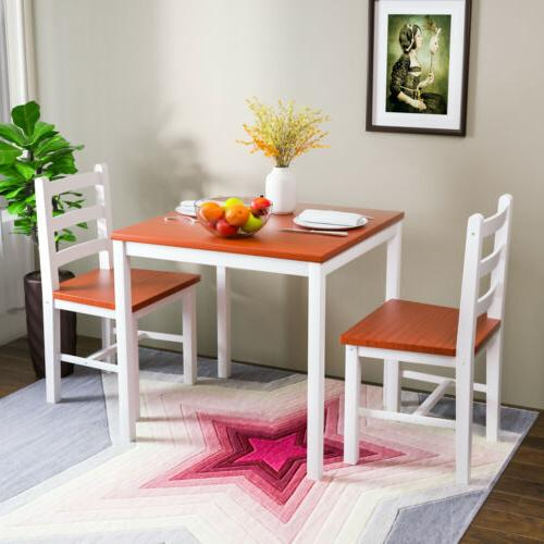 3pcs Pine Wood Dining Table Set w/ 2 Chair Kitchen Dining Ro