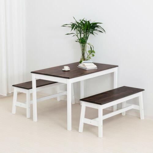 Mecor Table Set w/2 Benches Wood Kitchen Room Coffee