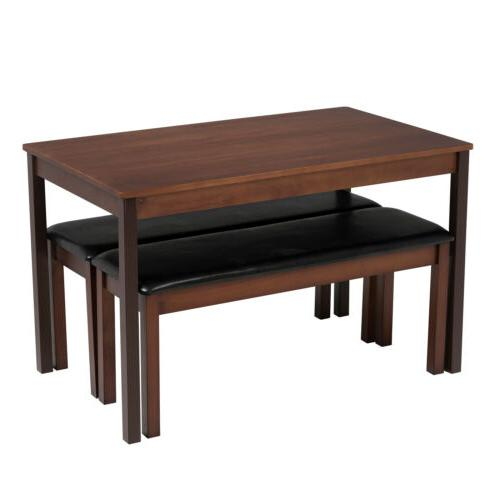 3PCS w/ 2 Leather Benches Pine Kitchen Brown