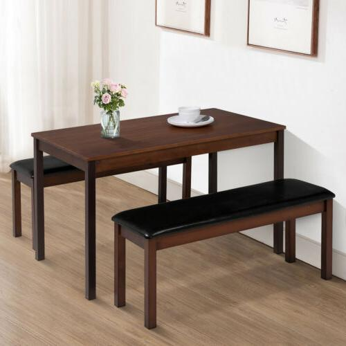 3pcs dining table set w 2 leather