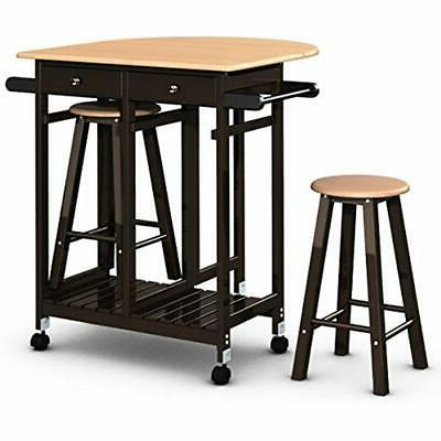 3PCS Wood Kitchen Casters Fold Table Leaf 2 Drawers Stools