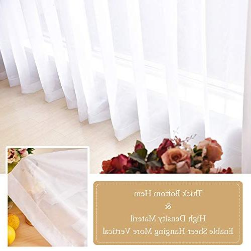 "RYB HOME Sheer Curtains - Window Rod Pocket Draperies Rooms for Dining Room/Living Room/Bedroom, 60"" W by 84"" L, 4 Panels"
