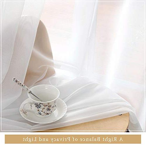 "RYB 84"" Long Sheer Curtains - Luxurious Window Tulle Pocket Draperies Room/Bedroom, 84"" White,"