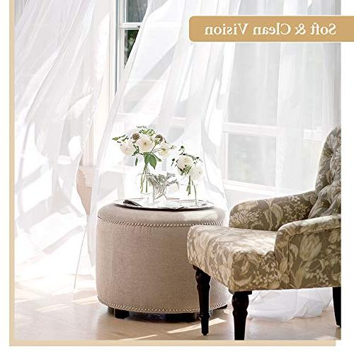 "RYB Sheer Curtains Window Tulle Set Pocket Draperies Brighten Rooms Room/Bedroom, W by 84"" Panels"