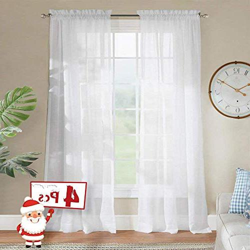 4 panels white sheer curtains