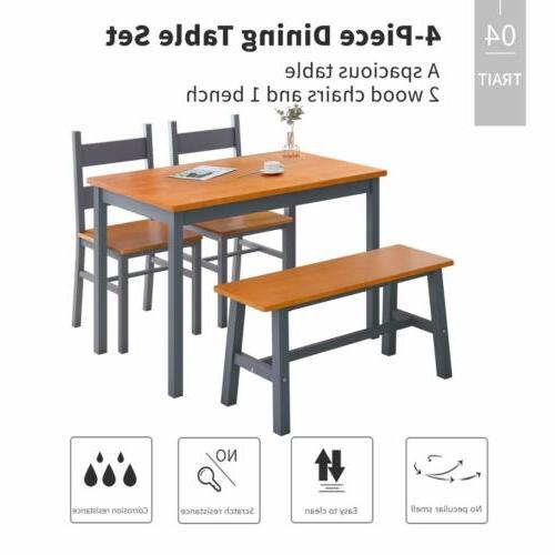 4 Dining Set, w/ 2 Chairs Bench