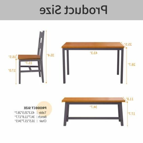 4 PCS Dining Set, Solid Table w/ Bench