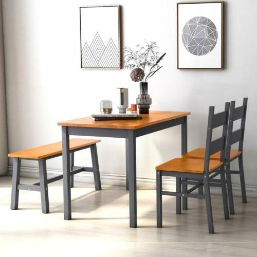 4 Dining Table Set, Solid w/ 2 Bench Natural/Grey