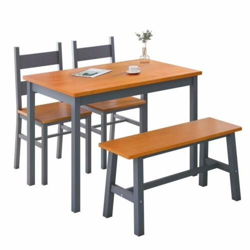 4 pcs dining table set solid wood
