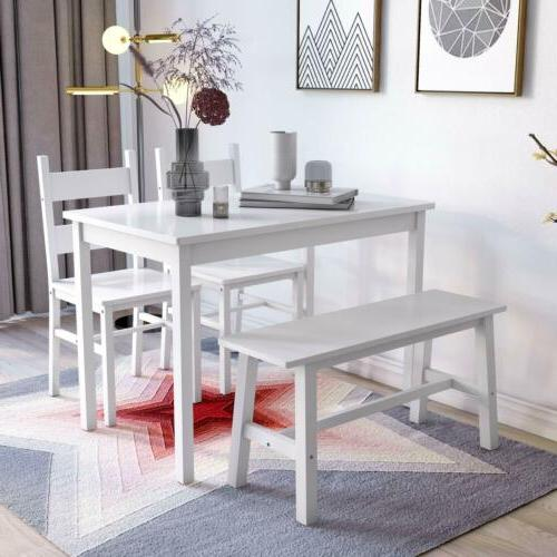 4-Piece Set Solid Wood Chairs & Bench Kitchen White