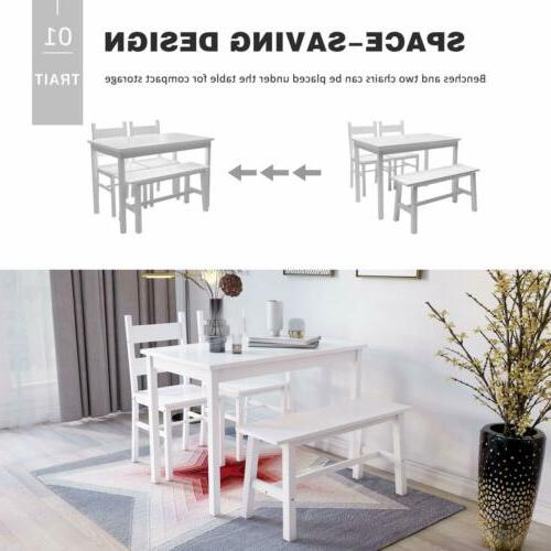 4-Piece Dining Table Solid 2 Chairs Kitchen White
