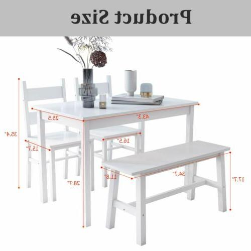4-Piece Dining Solid Wood with Chairs & Kitchen