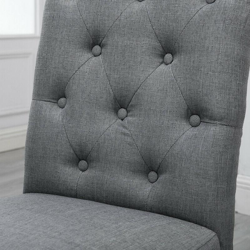 4x Gray High Back Fabric Upholstered Button Room New