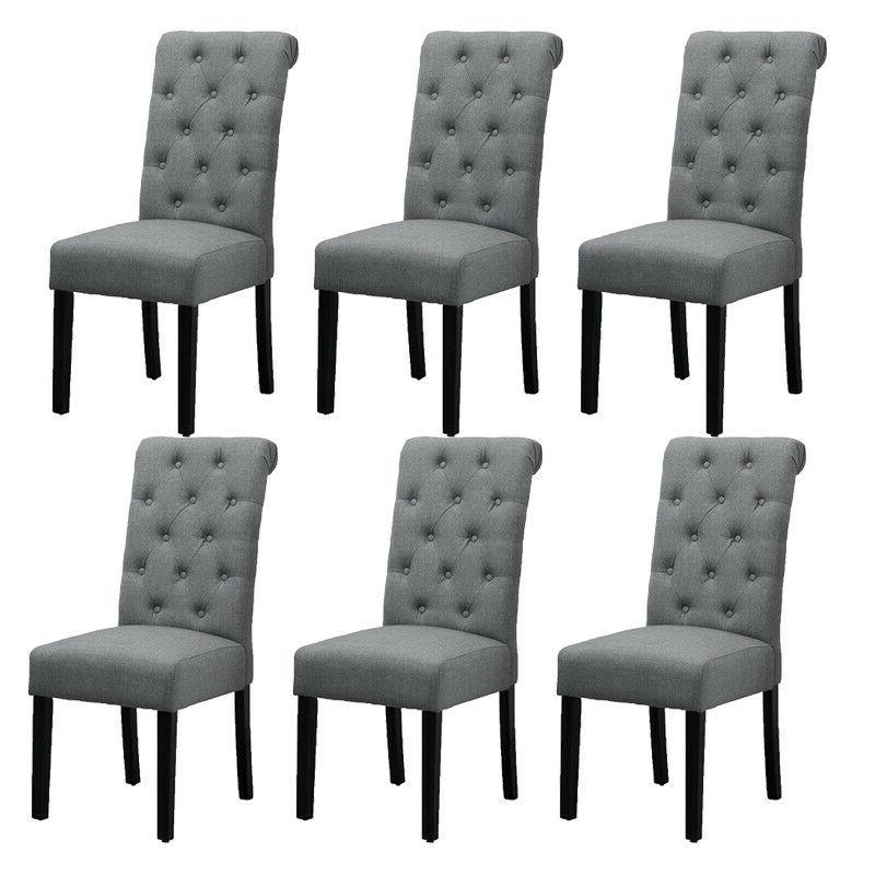 4x gray dining chairs high back fabric