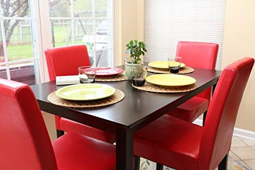 5 PC Leather 4 Chairs - Red