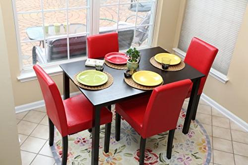 5 PC Leather 4 Chairs Dining - Red