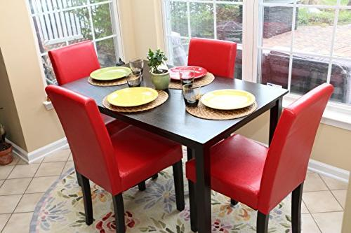5 4 Person Table and Chairs red - Parson
