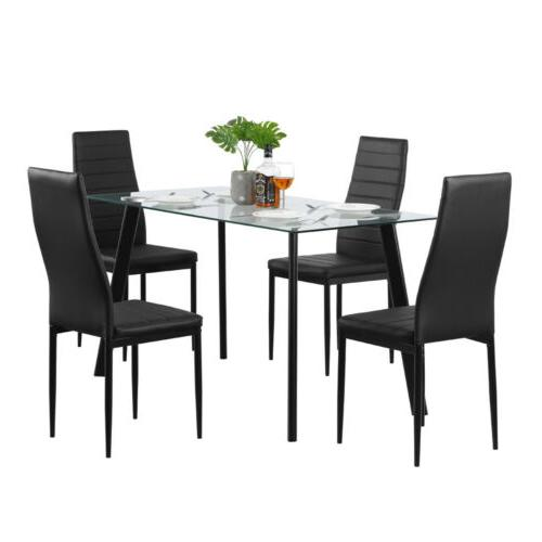 5 Set Glass Table 4 Chairs Room Furniture