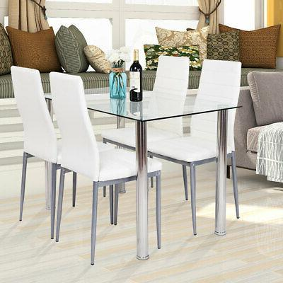 5 PCS Table & 4 Cushioned Set Tempered Glass Kitchen