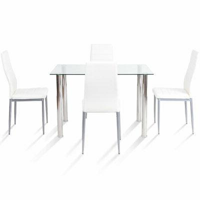 5 pcs dining table 4 cushioned chairs
