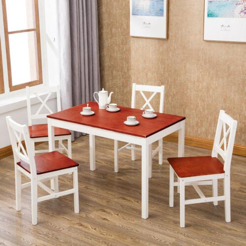 5 pcs Pine Wood Dining Table and Chairs Set Kitchen Dining R