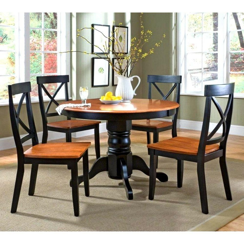 Home Styles 5 Piece Black & Cottage Oak Dining Set Round Tab