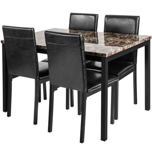 5 Dining Faux Marble w/4 Leather Furniture