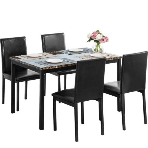 5 piece dining set faux marble metal
