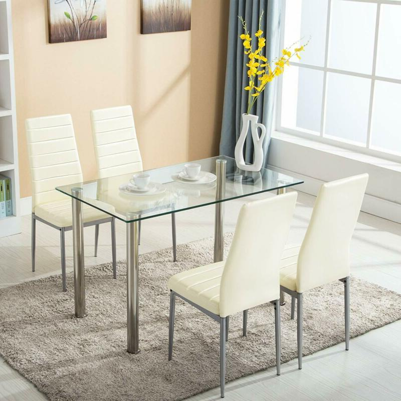 5 piece dining set glass kitchen table