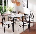 Costway 5 Piece Dining Set Glass Metal Table and 4 Chairs Ki